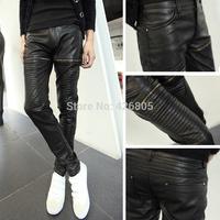 2014 PU pants male slim harem pants fashion personality male boot cut jeans casual skinny pants