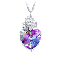 CDE Luxury Crystal Castle Necklace & Pendants Heart Love Necklace for Women Fashion Jewelry Made with SW Element YP0372
