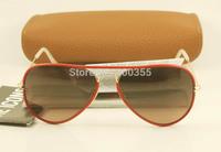BRAND NEW men women aviator sunglasses RB 3025-J-M AVIATOR FULL COLOR 001/x3 Red leather gold metal Dark Pink Lens 58mm in box