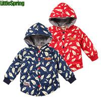 XLS LittleSpring Retail children's outerwear leaf printing hoodies kids hooded autumn winter coat