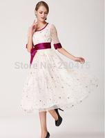 New Summer Dress 2014 Fashion Desigua Party Dresses Sleeve Color Silk Belt Net Yarn Embroidered Dress Rose Sexy Club Dress A 01