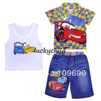FREE SHIPPING!2013 new design car cotton short sleeve + jeans +underwaist , boys 3-pieces clothing set