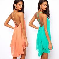New 2014 Summer Sexy Women Clothing Spaghetti Strap Dresses Backless Chiffon Beach Dress, Green, Black, Pink, S, M, L, XL