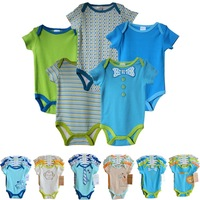 5pcs/ lot Baby Romper Clothing Set Hanging Football  Short Sleeve Bodysuits Set,Baby boy Clothes Set 0-3,-6,6-9,-12 months