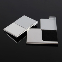 2014 New Business name card case Custom stainless steel thin half a clamshell Small batch customization  Logo