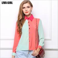 2014 New Mint+Peach Color Block Chiffon Blouses Fashion OL Down Shirts Long Sleeve for Women Summer Autumn Button Pocket S M L