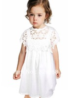 2014 new famous brand European & US style girl dress,high quality cotton lace design girls dress,summer hotesale children dress