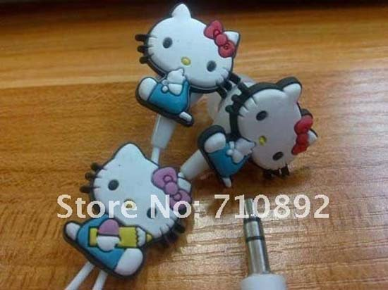3.5mm Cute Hello kitty Cats In Ear Earphones Bass Headset For ipod iphone MP3 MP4 MP5 Mobile Phone(China (Mainland))