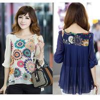 Women's 2014 Flower Print Plus Size Chiffon Shirt Half Sleeve Summer Tops Large Size L -XXXXL Womens Blouses roupas femininas