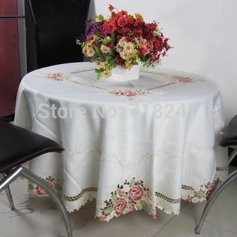 Alta calidad redondo elegante de poliéster Floral bordado cubra ...