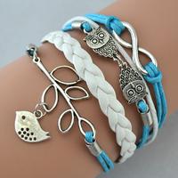 DIY leather,suede,velvet, Infinity bangle bracelet Owls Lucky Branch/ Bird swallow,owl,robin Bracelet