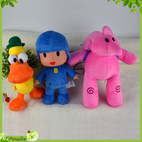 3pcs/lot  Personagem Do Desenho Pocoyo Elly Pato Plush Toys Learning & Education Action Figure Baby Toys Birthday Brinquedos