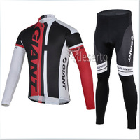 2014 new GIANT long sleeve red&white cycling jersey+black pants bicycle jacket  N1025