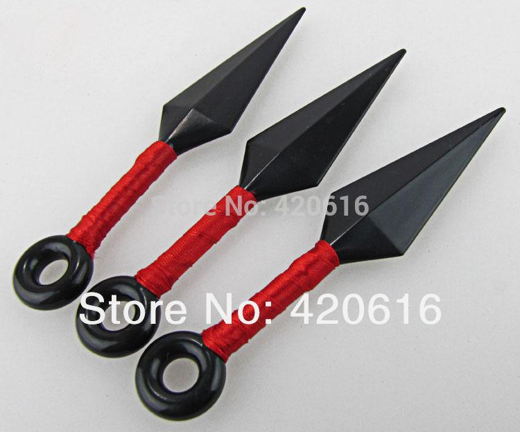 O envio gratuito de 3 pçs/lote Red Throwing Knives Kunai Naruto Ninja Anime Cosplay acessórios 13 cm 5 cores vermelho roxo amarelo(China (Mainland))