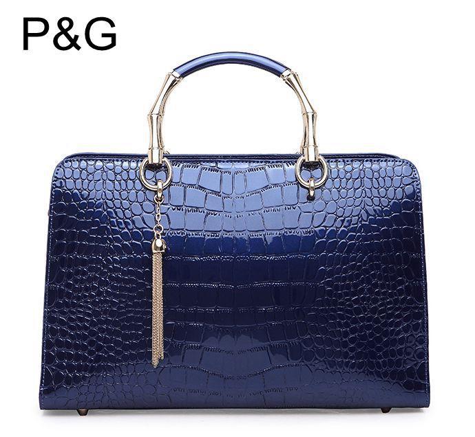 women luxury genuine leather handbag,fashion patent leather vintage crocodile casual messenger bag lady brand dress shoulder bag(China (Mainland))