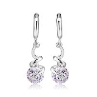 New design cubic zircon drop earrings silver plated jewelry women wedding charm dangle earrings brincos bijoux Valentine's gift