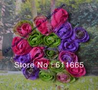 Free CPAM New 2014 6.5cm shabby neon printed chiffon children/kids hair flowers,hair accessories apple flower trimming,50pcs/lot