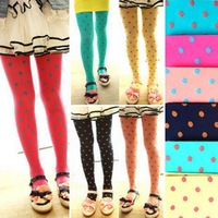 2014 spring autumn girls' pantyhose Dot heart pantyhose velvet tights candy color long tights girls' Exquisite packaging  LG-036