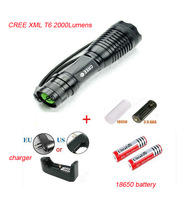 Hot UltraFire e007 18W 1800 Lumens Zoomable CREE XM-L T6 LED Flashlight Torch+2*18650 +charger