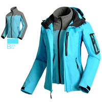 Female softshell Outdoor 3-Layer Waterproof snowboard hiking Skiing Jackets suit Windbreaker,Women Warm Winderproof Coat