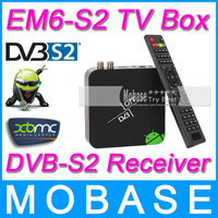 DVB-S2 Android TV BOX EM6-S2 Media Player Amlogic AML8726-MX 1G/8G HDMI AV WiFi RJ45 Smart IPTV Tuner Worldwide DVB S2 Receiver