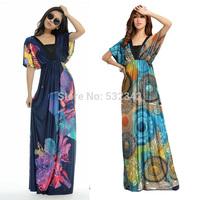 2014 Fashion Summer V-Neck Bat Sleeve  Floral Print Dress for Women Plus Size Bohemia Floor Long Beach Maxi Dress M-6XL