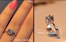 Luxury 18K white gold plated 0 5 carat round AAA Swiss cubic zirconia diamond crystal engagement