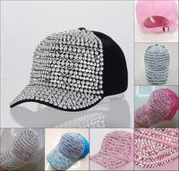 Free shipping Hot sale women pearl beaded rhinestone luxury baseball cap new fashion High qualtiy woman brand snapback hats