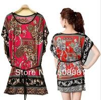 2014 Fashion vintage print dress summer plus size women flower floral bohemian woman tunic dress oversized lady top 30 COLORS!