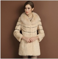 Fur coat 2014 female high quality full leather rabbit fur fox fur medium-long big lj9355 Y8P0