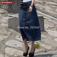 Free shipping Denim skirt female half-length skirt a-line ol 2014 long skirts single breasted half-length jeans skirts