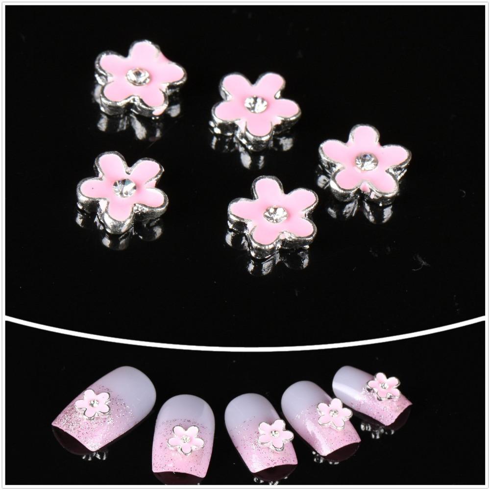 Nail Art Best Sale10pcs/lot Bling Bling Rhinestone 3D Beautiful Pink Flower Design DIY Decoration(China (Mainland))