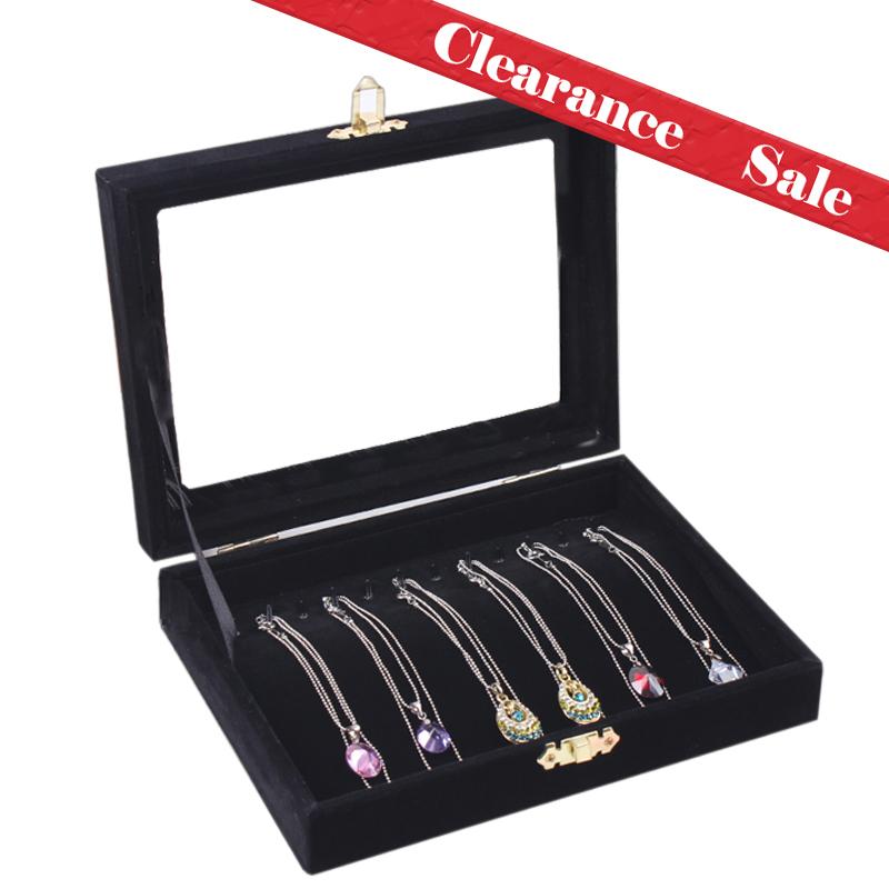 Free shipping necklace bracelet pallet jewelry box jewelry display box black velvet lid jewelry box(China (Mainland))