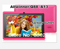 factory seller 7 inch Q88 Allwinner tablet pc  A13 1.2GHz A8 MID WIFI External 3G Muti touch 512/4GB dual camera Android 4.2