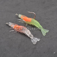 10Pcs/lot [6cm 3g] Soft Fishing Lures With Hook Artificial Shrimp Bait Luminous + Bright silver