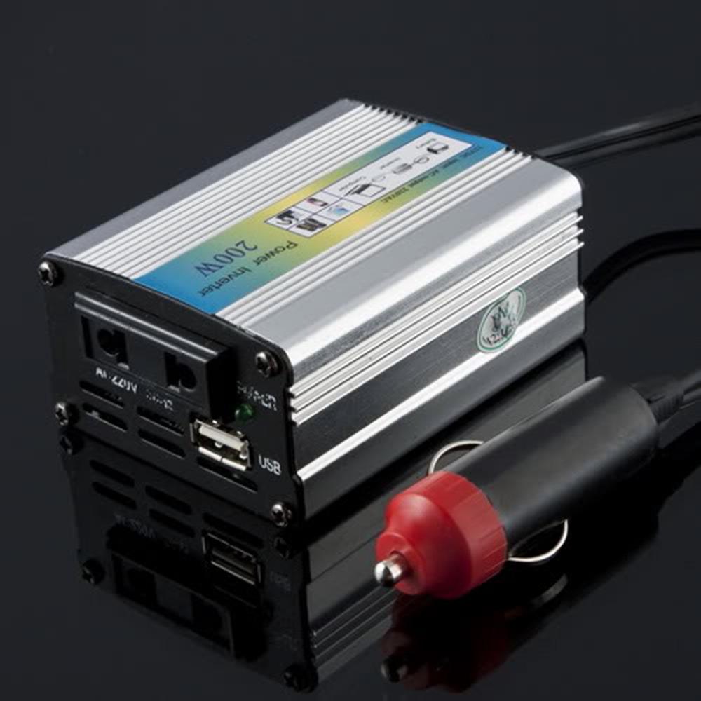 1Set 12V DC to AC 220V Extra Surge Capacity Car Auto Power Inverter Converter Adapter Adaptor 200W USB Wholesale(China (Mainland))