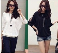 Hot  Women Transparent Chiffon Betwing Sleeve Casual Tops Black/White Loose T-Shirts Plus Size