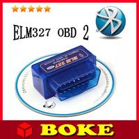2015 Lowest Factory Price A+++ Quality Super Mini elm327 Bluetooth OBDii / OBD2 Wireless Blue Mini elm 327 FREE SHIPPING