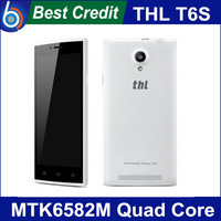 In stock new Original THL T6S 1G RAM 8G ROM mobile phone MTK6582M Quad Core 1.3Ghz 8MP 3G Russian menu black white color