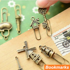 60 pcs/Lot Vintage Metal Bookmarks Bronze color Paper clip Page Holder Zakka stationary office materials School supplies 6439(China (Mainland))