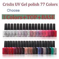 Crislish 5PCS (Uv Gel Base And Top Coat Choose 3 Color Gel)Set For Nail Art Led Nail Polish Set Professional Soak Off Gel Polish