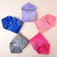Children's clothing female child spring 2014 candy color velvet baby sportswear top child with a hood cardigan