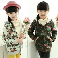 Children's clothing female child spring 2014 thickening print child with a hood top baby outerwear y03
