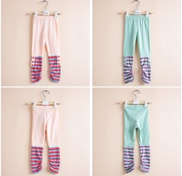 Children's clothing female child spring 2014 button stripe patchwork child legging trousers 1129-a02