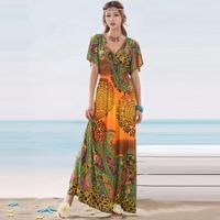 2014 new trade of the original single ice silk large lotus sleeve waist  long dress for women  Bohemian L033