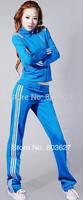 2014 New Brand Wholesale women outerwear sportswear sweatshirt outdoor sports wear jogging suit clothes fashion Blue jacket suit