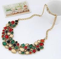 New Brand Chunky Cluster Imitation Gemstone Jewelry men Statement Necklaces Pendants Charm Choker Necklace Costume Bijouterie