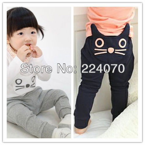 Retail 2015 Spring Children Kids Baby cute cat design trousers Child Baby girls Harem pants Casual trousers free shipping(China (Mainland))