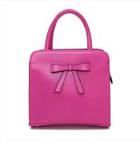 2014 New Sweet women's bow genuine leather handbag bride shoulder cross-body handbag women cowhide bag totes for gentlewomen
