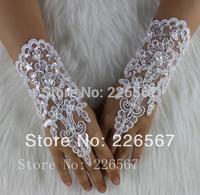 New Write, Ivory Pearl Fingerless Short Bride Bridal Gloves Wedding Gloves Retail, Wholesale Free Shipping